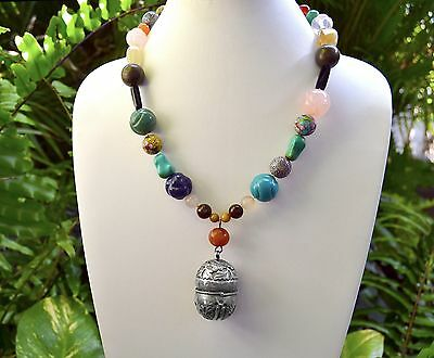 """Old CHINESE Export Multi GEMS Cloisonne Cinnabar Silver Pendant Necklace 24"""""""