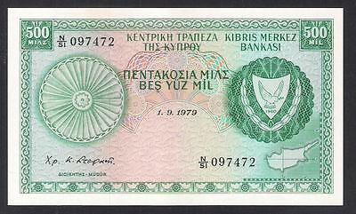 CYPRUS 1.9. 1979 500 MILS BANKNOTE GEM UNCIRCULATED and PERFECT CONDITION