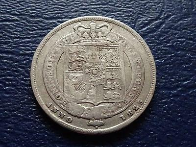 George Iv Sterling Silver Shilling 1825 Shield Reverse Great Britain Uk