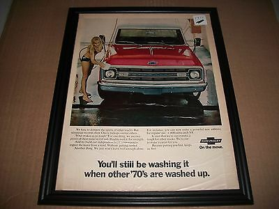 1970 Chevrolet Pickup Truck Print Ad  Pretty Girl In Bathing Suit Washing Truck