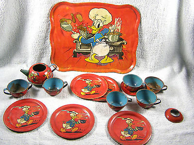 Vintage Tin Lithograph DONALD DUCK Chef Tea Set 14 pcs - Ohio Art - Walt Disney