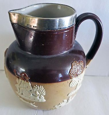 ROYAL DOULTON Brown Stoneware / Sterling Silver  English Hunting Ware Pitcher