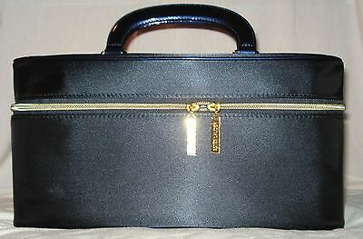 Estee Lauder Navy Blue Satin Train Cosmetic Makeup Case & Gold Cosmetic Bag New