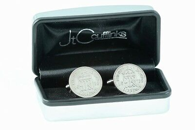 MENS 80th BIRTHDAY GIFT IN 2018 NEW SIXPENCE COINS CUFFLINKS 1938 BIRTH YEAR