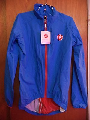 Castelli Cycling Jacket Nwt- Men's L-Blue/red-Great For Fall Riding !!
