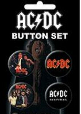 AC/DC - Button Set - 4 Pinback Style - Licensed New In Pack