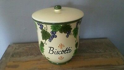 Nonni's hand painted Biscotti ceramic jar with lid