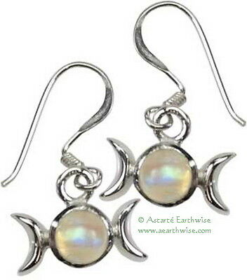 TRIPLE GODDESS RAINBOW MOONSTONE CRYSTAL EARRINGS Wicca Witch Pagan GothHippie