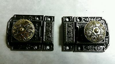 Nice Restored Pair Of Antique Victorian Cabinet Latches Ready To Use!!