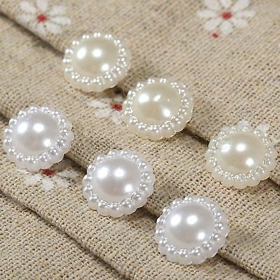 13mm 50*Flat Back Flower Embellishments Pearl Beads Wedding Card Scrapbook Craft