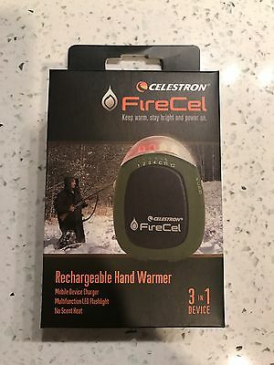 Celestron Firecel Rechargeable Hand Warmer LED Flashlight USB Power Pack 93543