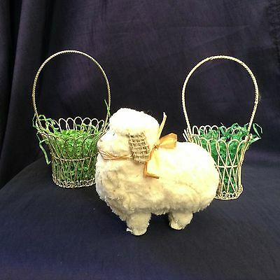 Vintage Easter Decorations – Furry Lamb and Pair of Metal Baskets