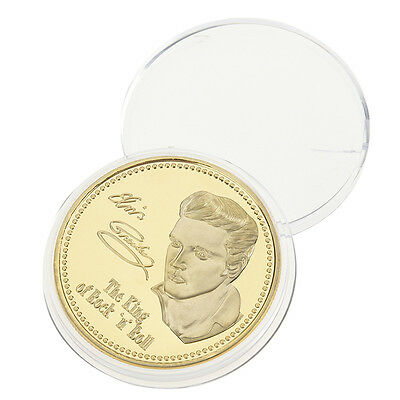 1PC 1935-1977 Gold Iron Elvis Presley The King of N Rock Roll Memory Coins Gift
