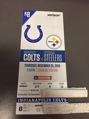 Indianapolis Colts Pittsburgh Steelers MINT Season Ticket 11/24/16 2016 NFL Stub