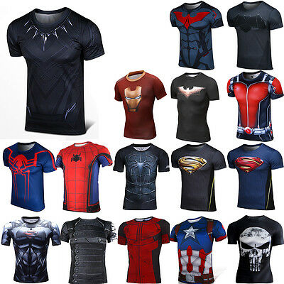 Hombre Spiderman Punisher camiseta compresión gym superhéroe marvel vengadores