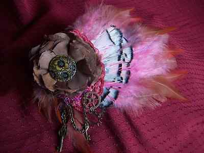 Steampunk Wedding Fascinator Steampunk Hair Clip Flower Rose Pink Feathers