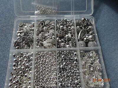 Box of Silver Beads Ornate Bead Caps Angel Wings Charms Spacer Ball