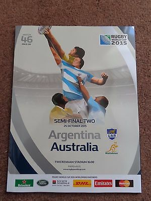 Rugby World Cup 2015 Official Programme Argentina V Australia