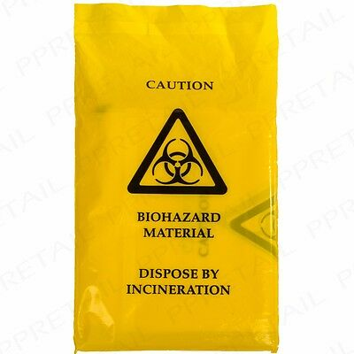 10x LARGE DISPOSABLE BIOHAZARD YELLOW BAGS 35cm x 20cm Thick Clinical Waste Seal