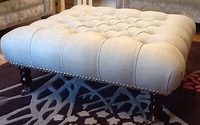 A Quality Large Deep Buttoned Footstool Laura Ashley Dalton Dove Grey Fabric