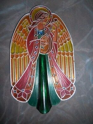 Vintage Hallmark Tree Topper Angel Stained Glass