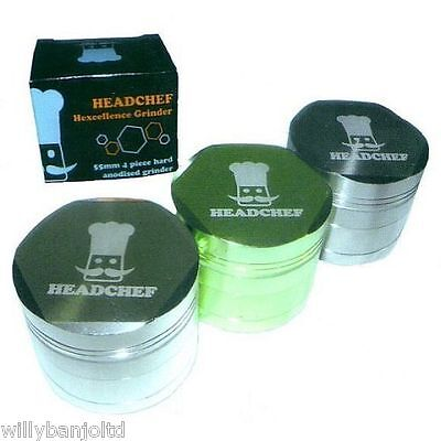 Headchef 55mm 4 Part Hexellence Aluminium Head Chef Herb & Spice Grinder