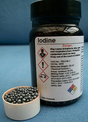 50g iodine crystals: 99.9% high purity, FOOD/PHARMACEUTICAL grade