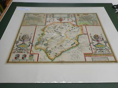100% Original Large Rutlandshire Map By John Speed C1611 Vgc Hand Coloured