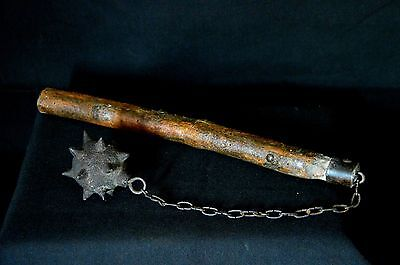 medieval flail with spikes chain mace - old reproduction in iron cast and wood