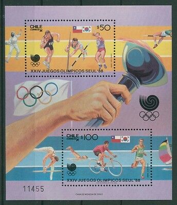 Chile 1988 Olympiade Seoul Block 7 postfrisch (C22799)