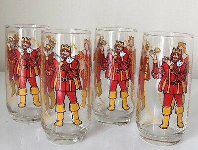 Set of 4 1979 Burger King Collectors' Series Tall Drinking Glasses Collectors