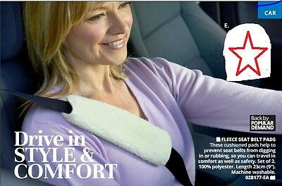 Set Of 2 Fleece Cushioned Car Seat Belt Pads - No Rubbing Or Belt Digging In New