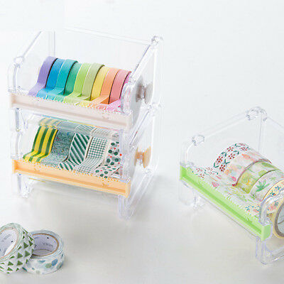 1 pc Clear Plastic Desktop Tape Dispenser Tape Cutter Paper Tape Storage Box