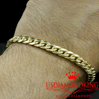 "10k Yellow Gold Mens Womens Solid Cuban Curb Link Bracelet Chain 6mm-8mm 7""-9"""
