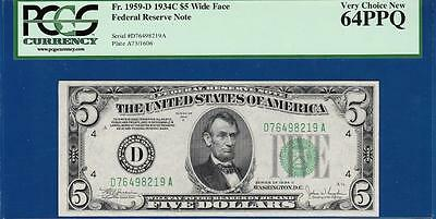 1934C $5 Cleveland FRN Green Seal - PCGS Very Choice Uncirculated CU 64PPQ - C2C