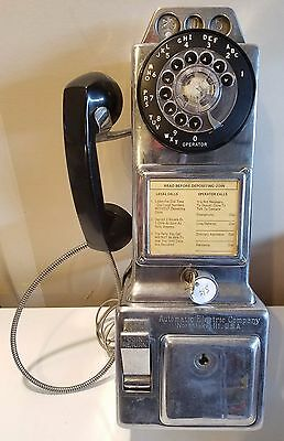 Vintage Automatic Electric Company 3 Coin Rotary Dial Payphone w/ 1 Key - WORKS