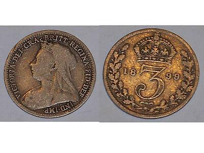 GReat Britain 3pence 3 pence three pence Coin 1899 Victoria Queen British silver