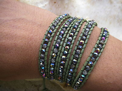 bracelet 5 Wrap crystal faceted AB beads GREEN KAKI Leather cuir VERT HOMME MEN