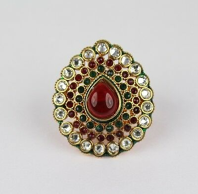 Indian Wedding Faux Ruby Emerald Ethnic Bollywood Finger Ring Adjustable
