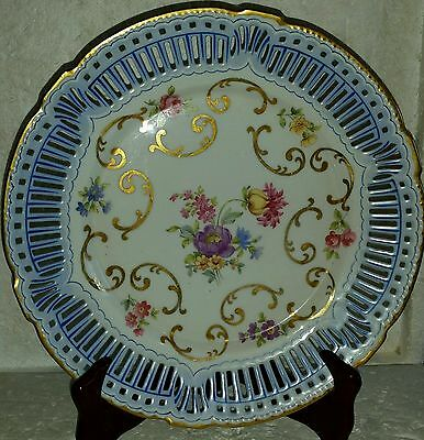 Gorgeous Old Vintage Dresden German Reticulated Floral Cabinet Display Plate