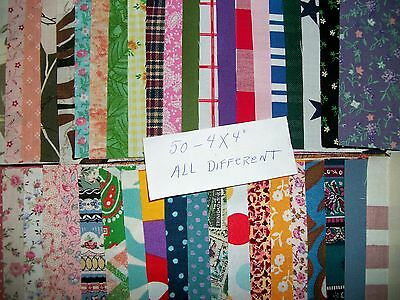 50 Cotton Squares, 4X4 Inch All Different