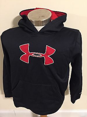 Under Armour Storm ⛈ Loose UA Logo Hoodie Sweatshirt Youth Large Black Red EUC