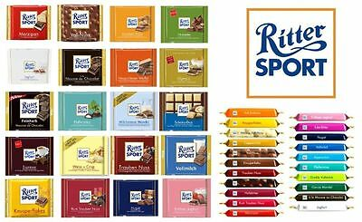 RITTER SPORT Chocolate Collection - four (4) Bars of your choice -