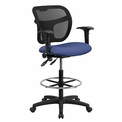Mid-Back Mesh Drafting Chair Navy Blue Fabric Seat & Height Adjustable Arms New