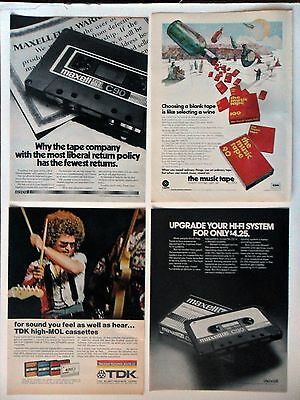 Lot #5 of 20 Different Cassette Recording Tape Magazine Print Ads ~ Music Tape +