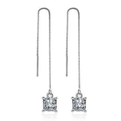 Women's Fashion Solid 925 Sterling Silver Natural Zircon Stud Dangle Earrings