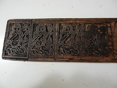 Antique Mongolian Buddhist Hand Carved Wooden Block For An Offering Cards