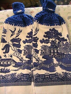 LOT OF 2~CHINESE BLUE WILLOW dish pattern CROCHET TOP KITCHEN, BATH HAND TOWELS