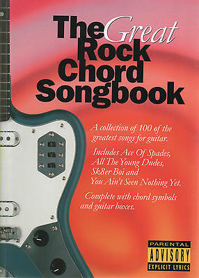 ROCK MUSIC FOR GUITAR Songbook Sheet Music Book Chord Boxes & Lyrics 100 SONGS!
