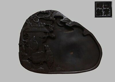 Rare Chinese Carved Figure Ink Stone Marked (L751)